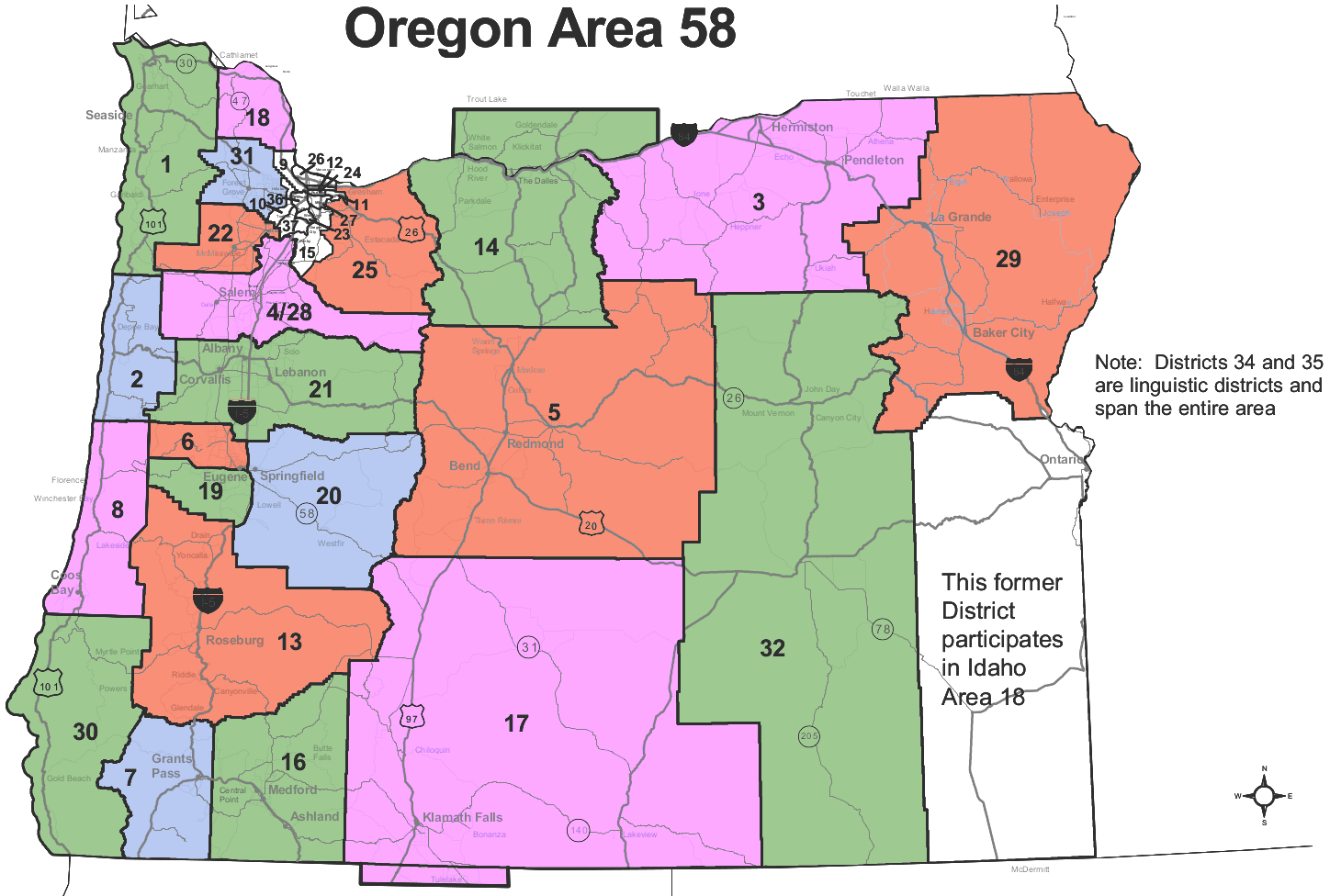 Oregon Area 58 Districts Map